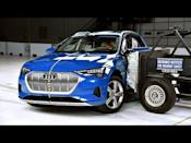 """<p>The <a href=""""https://www.caranddriver.com/audi/e-tron"""" rel=""""nofollow noopener"""" target=""""_blank"""" data-ylk=""""slk:Audi e-tron"""" class=""""link rapid-noclick-resp"""">Audi e-tron</a> is the only EV on the list, as the <a href=""""https://www.caranddriver.com/ford/mustang-mach-e"""" rel=""""nofollow noopener"""" target=""""_blank"""" data-ylk=""""slk:Ford Mustang Mach-E"""" class=""""link rapid-noclick-resp"""">Ford Mustang Mach-E</a>, the <a href=""""https://www.caranddriver.com/tesla/model-x"""" rel=""""nofollow noopener"""" target=""""_blank"""" data-ylk=""""slk:Tesla Model X"""" class=""""link rapid-noclick-resp"""">Tesla Model X</a>, <a href=""""https://www.caranddriver.com/tesla/model-y"""" rel=""""nofollow noopener"""" target=""""_blank"""" data-ylk=""""slk:Model Y"""" class=""""link rapid-noclick-resp"""">Model Y</a>, and the <a href=""""https://www.caranddriver.com/volkswagen/id4"""" rel=""""nofollow noopener"""" target=""""_blank"""" data-ylk=""""slk:Volkswagen ID.4"""" class=""""link rapid-noclick-resp"""">Volkswagen ID.4</a> haven't been IIHS tested yet. However, like the e-tron, Model X and Y have been given five-star ratings from NHTSA. Not only did the e-tron score Good ratings in all six crash tests, the crash mitigation tech helped it avoid collisions in nearly every exercise. During the 37-mph parallel pedestrian test, it stopped without hitting the adult test dummy in 2.3 seconds. Oddly enough, the base e-tron has better performing LED projector low-beam and LED reflector high-beam headlights. The Premium Plus and Prestige trims come standard with Audi's matrix-design LED headlights, but the fancier low beams emitted some glare and were inadequate on gradual left and right curves. Standard safety features include forward-collision warning and automated emergency braking, blind-spot monitoring and rear cross-traffic alert, and lane-departure warning.</p><p><a class=""""link rapid-noclick-resp"""" href=""""https://www.caranddriver.com/audi/e-tron"""" rel=""""nofollow noopener"""" target=""""_blank"""" data-ylk=""""slk:MORE E-TRON INFO"""">MORE E-TRON INFO</a></p><p><a href=""""https://www.youtube.com/watch?v=8"""
