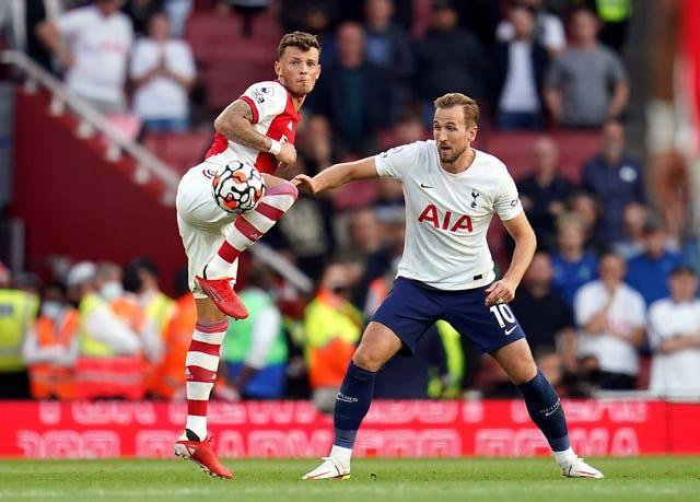 Harry Kane, right, is still searching for a first Premier League goal of the season following a summer of speculation about his Tottenham future