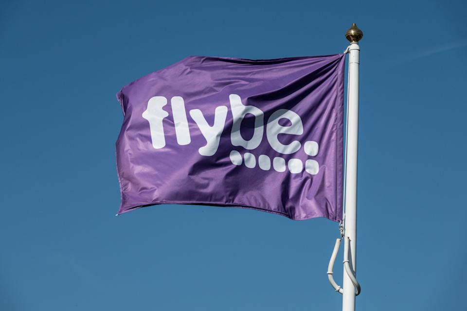 EXETER, ENGLAND - OCTOBER 18: A Flybe airline flag is pictured at Exeter Airport near Exeter on October 18, 2018 in Devon, England. The value of shares in the Exeter-based airline Flybe, have fallen dramatically recently after the company issued another profit warning, blaming poor demand, a weaker pound and higher fuel costs.(Photo by Matt Cardy/Getty Images)