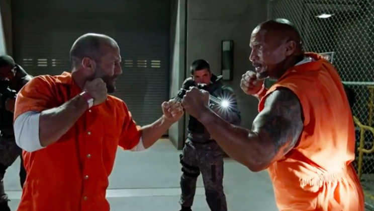 Jason Statham and Dwayne Johnson square off in 'The Fate of the Furious'
