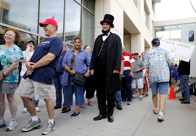 <p>James Mitchell of Hope, Kansas wears an Abraham Lincoln costume as he waits in line for a rally with U.S. President Donald Trump at the U.S. Cellular Center in Cedar Rapids, Iowa, June 21, 2017. (Photo: Scott Morgan/Reuters) </p>