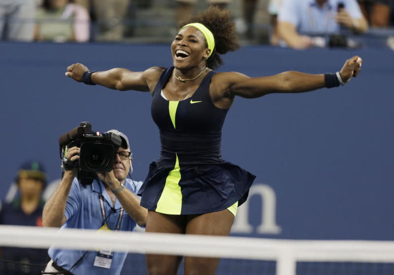 Serena Williams reacts after beating Victoria Azarenka, of Belarus, in the championship match at the 2012 US Open tennis tournament,  Sunday, Sept. 9, 2012, in New York. (AP Photo/Charles Krupa)