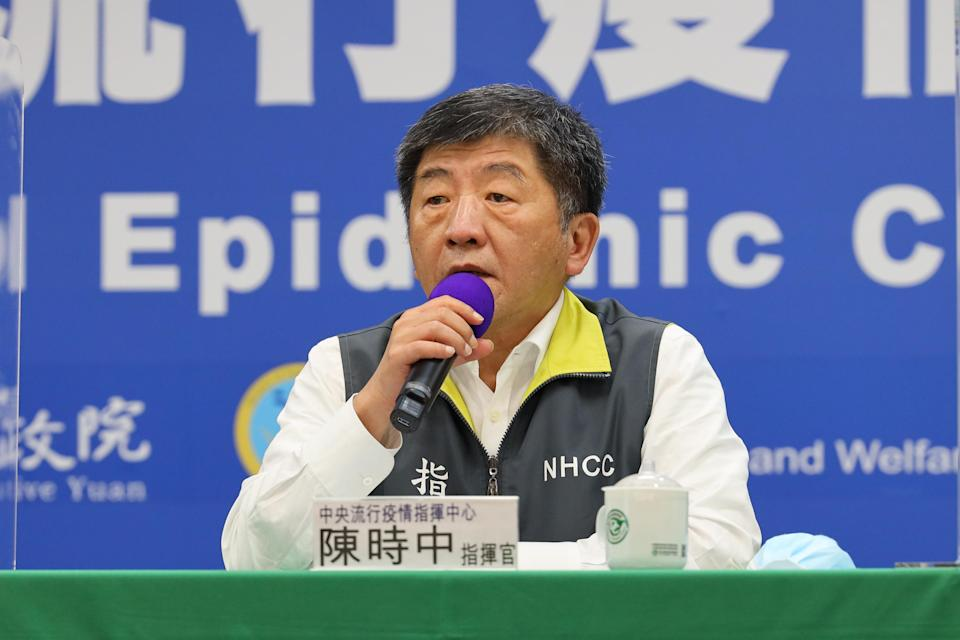 <p>Health minister Chen Shih-chung speaks at a press conference on May 28, 2020. (Photo courtesy of CNA)</p>