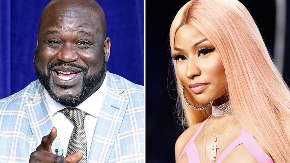 Shaquille O'Neil and Nicki Minaj, pictured here in 2020.