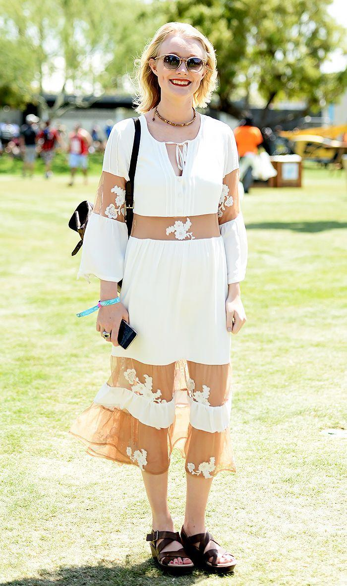 Make a lace dress work for a music festival by balancing the feminine style with platform sandals.