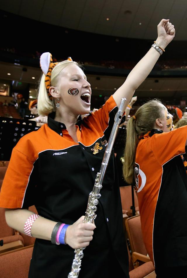 AUSTIN, TX - MARCH 22: A band member from the Pacific Tigers cheers before the start of the game against Miami Hurricanes during the second round of the 2013 NCAA Men's Basketball Tournament at The Frank Erwin Center on March 22, 2013 in Austin, Texas. (Photo by Ronald Martinez/Getty Images)