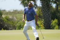 Billy Horschel reacts as he misses a putt on the second hole during the second round of the PGA Championship golf tournament on the Ocean Course Friday, May 21, 2021, in Kiawah Island, S.C. (AP Photo/Matt York)