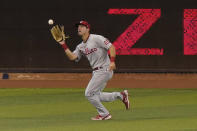Philadelphia Phillies center fielder Adam Haseley catches a ball hit by Miami Marlins' Jazz Chisholm during the sixth inning of the first game of a baseball doubleheader, Sunday, Sept. 13, 2020, in Miami. (AP Photo/Wilfredo Lee)