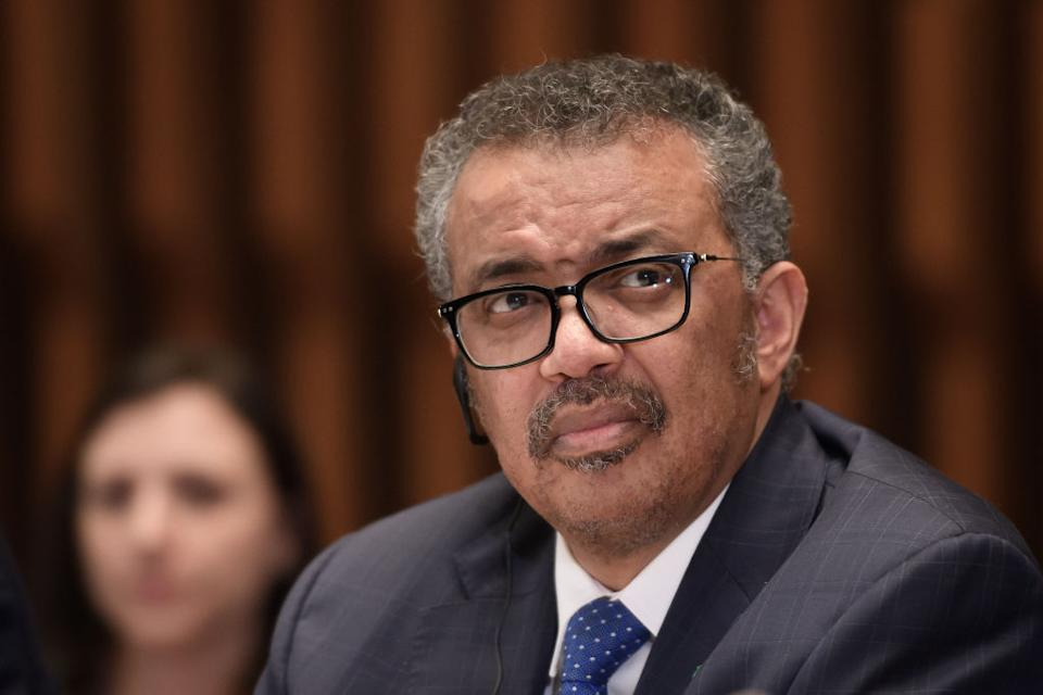 WHO Director General Tedros Adhanom Ghebreyesus pictured.