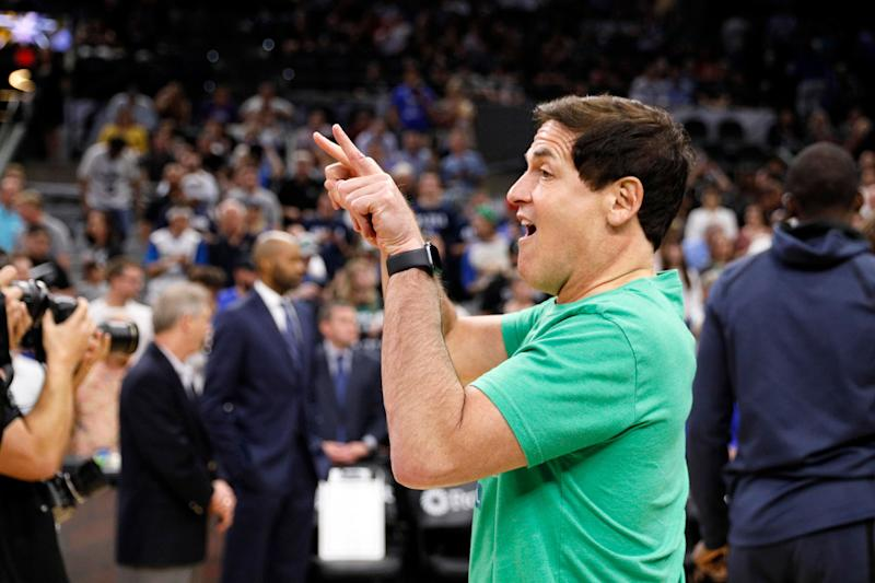 Apr 10, 2019; San Antonio, TX, USA; Dallas Mavericks owner Mark Cuban gestures to a television camera prior to the game against the San Antonio Spurs at AT&T Center. Mandatory Credit: Soobum Im-USA TODAY Sports