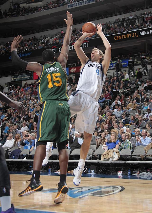 DALLAS, TX - FEBRUARY 7: Dirk Nowitzki #41 of the Dallas Mavericks shoots against the Utah Jazz on February 7, 2014 at the American Airlines Center in Dallas, Texas. (Photo by Danny Bollinger/NBAE via Getty Images)