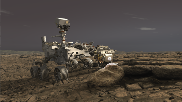 An artist's conception shows NASA's Perseverance rover using the PIXL X-ray instrument to analyze rock on Mars. (NASA / JPL Illustration)