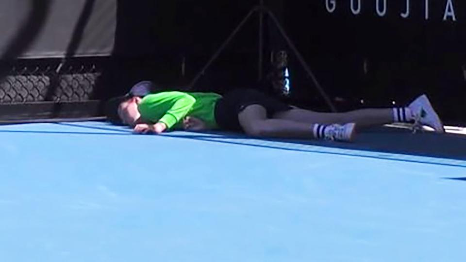 The ball girl collapsed on court at the Australian Open on Tuesday morning. Image: Eurosport