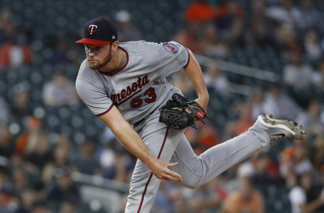 Minnesota Twins pitcher Kohl Stewart throws against the Detroit Tigers in the second inning of a baseball game in Detroit, Monday, Sept. 17, 2018. (AP Photo/Paul Sancya)