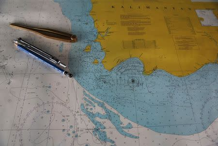 """A map with the mark """"TKP""""  is seen onboard SAR ship Purworejo at Kumai port"""