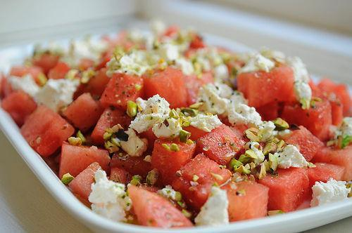 Watermelon and Goat Cheese Salad with a Verbena Infused Vinagrette
