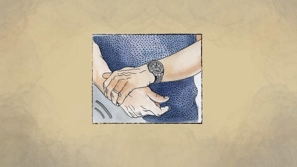 An illustration made from a photo of Amged El-Hawrani's hands provided by his family. (AP Illustration/Peter Hamlin)