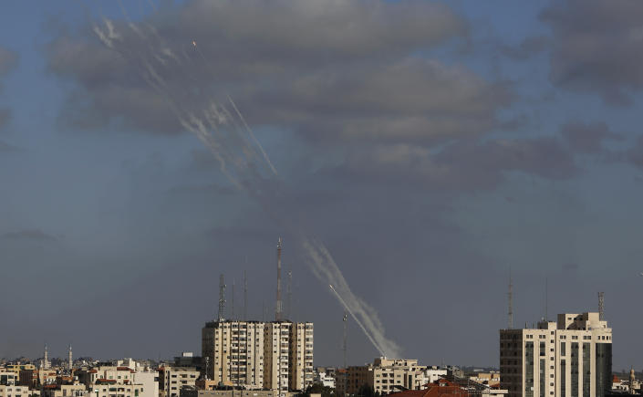 Rockets are launched from the Gaza Strip to Israel, Monday, May 17, 2021. (AP Photo/Hatem Moussa)