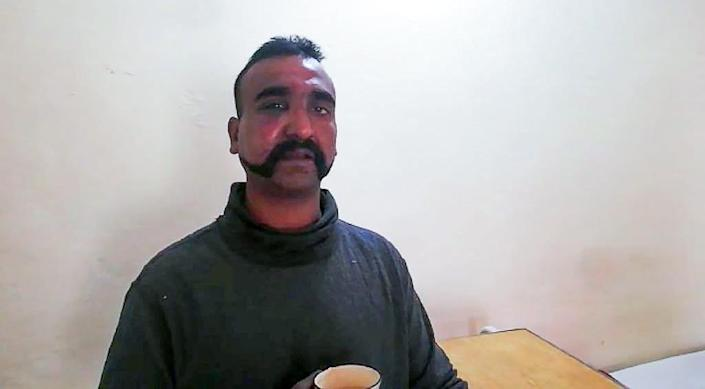 Downed pilot Wing Commander Abhinandan Varthaman has become the face of the crisis between Islamabad and New Delhi (AFP Photo/HANDOUT)