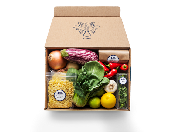 A box of ingredients from Blue Apron.