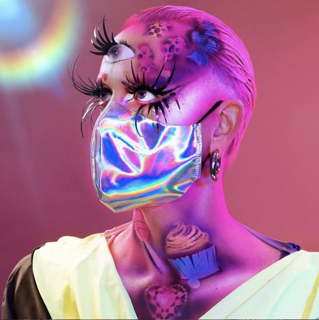 Acid Betty, in addition to co-producing digital drag shows, has started a cottage industry of making and selling holographic face masks during the coronavirus crisis. (Photo: Acid Betty)