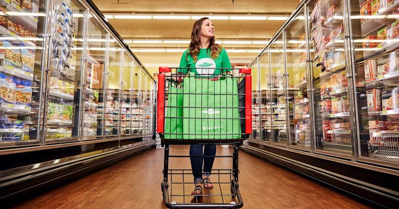 One of Target's Shipt shoppers fills an online grocery order.