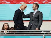 <p>David Beckham and son Romeo get into the game at the UEFA Euro 2020 Championship Round of 16 match between England and Germany on June 29 at Wembley Stadium in London.</p>