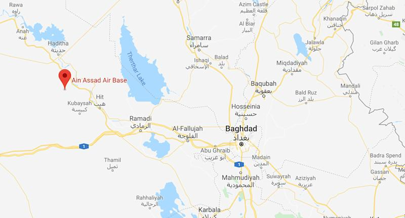 Pictured is a Google Map showing the Ain Assad Air Base west of Baghdad.