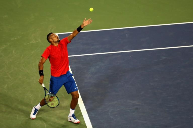 Nick Kyrgios of Australia serves to Rafael Nadal of Spain during their Western and Southern Open quarter-final match, at the Linder Family Tennis Center in Mason, Ohio, on August 18, 2017