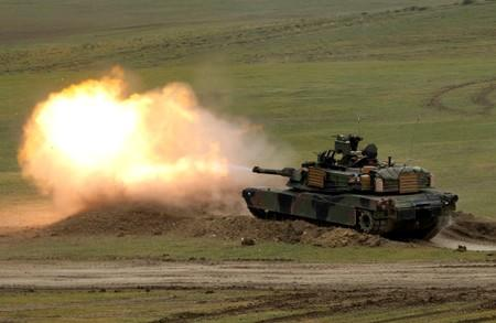 "FILE PHOTO: U.S. M1A2 ""Abrams"" tank fires during U.S. led joint military exercise ""Noble Partner 2016"" near Vaziani"
