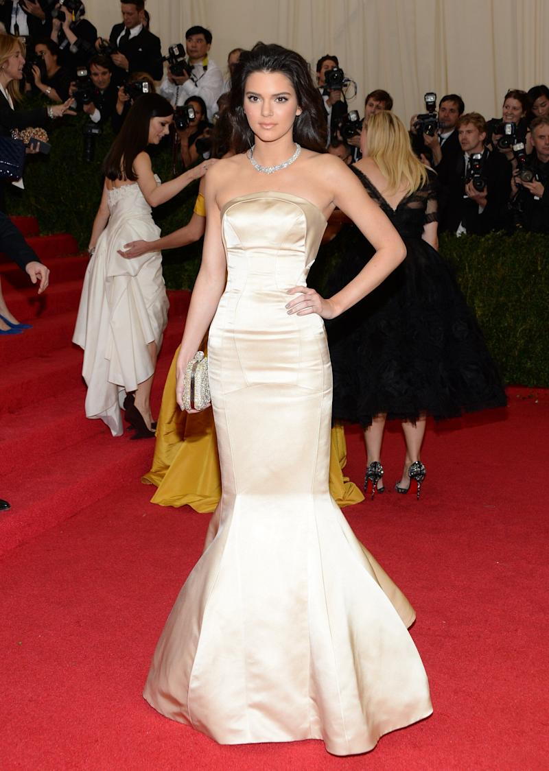 """Kendall Jenner attends The Metropolitan Museum of Art's Costume Institute benefit gala celebrating """"Charles James: Beyond Fashion"""" on Monday, May 5, 2014, in New York. (Photo by Evan Agostini/Invision/AP)"""