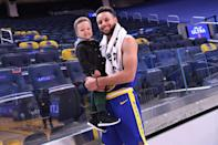 <p>Steph Curry and son Canon make an adorable pair on Monday following the Golden State Warriors game against the Utah Jazz in San Francisco.</p>