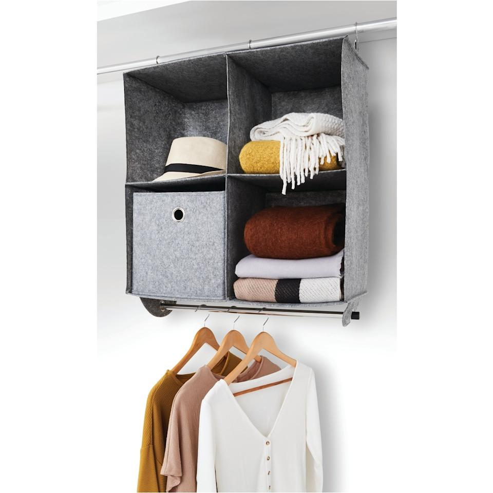 Kmart Hanging Organiser with Rail, $14 from catch.com.au. Photo: Kmart.