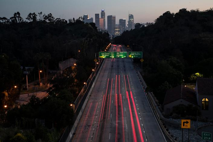 The 110 Freeway in Los Angeles in late April 2020.