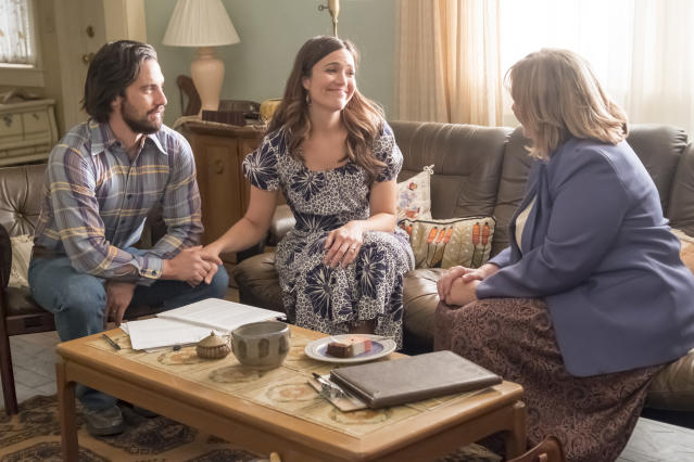 <p>Milo Ventimiglia as Jack and Mandy Moore as Rebecca in NBC's <i>This Is Us</i>.<br>(Photo by: Ron Batzdorff/NBC) </p>