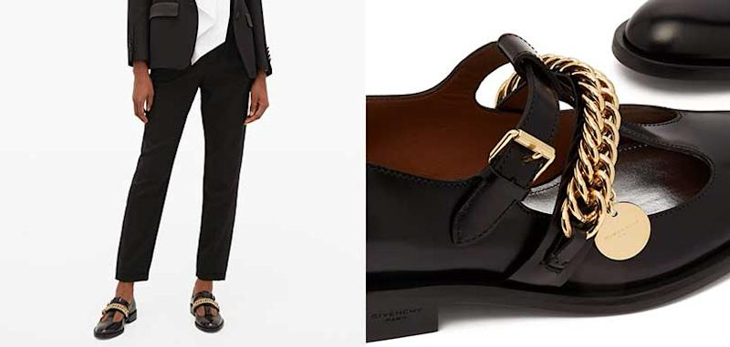 GIVENCHY - Chain-embellished leather Mary-Jane flats