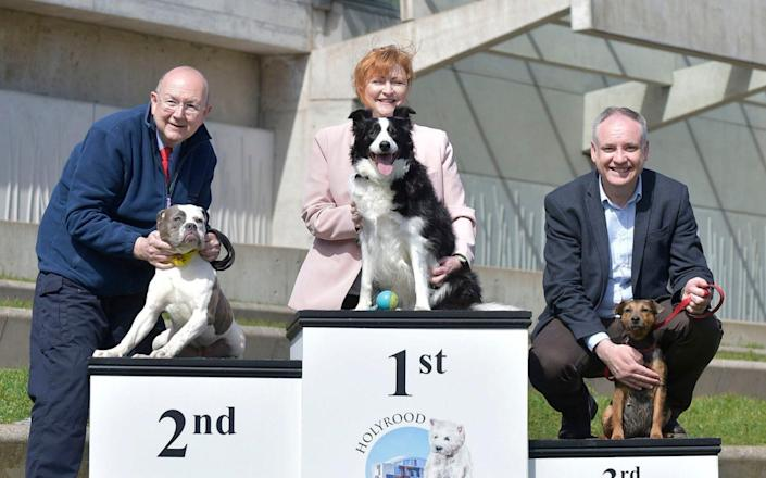 Emma Harper, SNP MSP for South Scotland, and her Border Collie Maya win Holyrood dog of the year 2017 - Sandy Young/PA