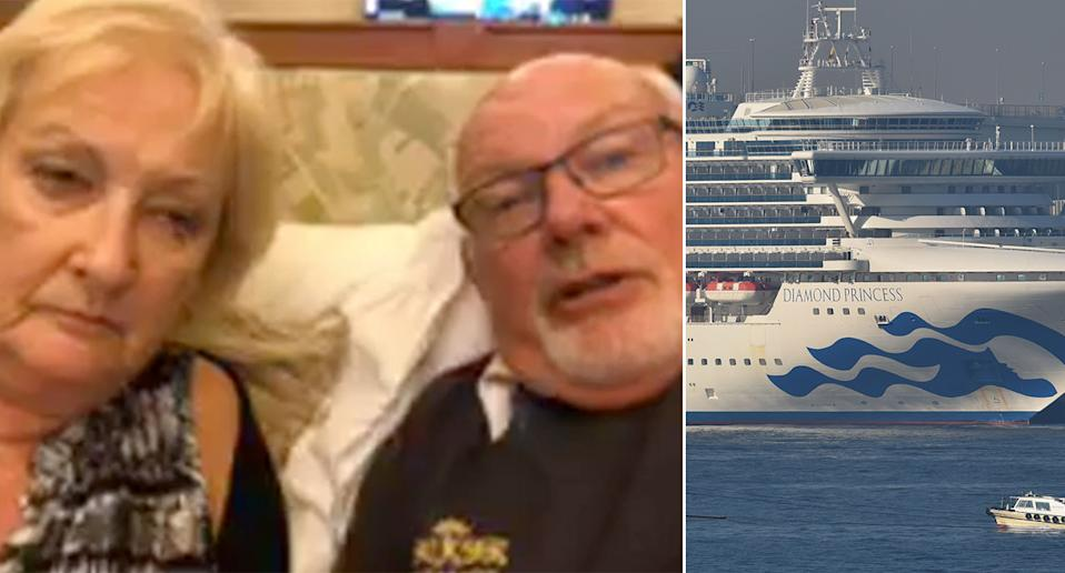 David and Sally Abel said they'll stay on board the Diamond Princess even if they test negative for coronavirus (Pictures: Getty/Good Morning Britain)