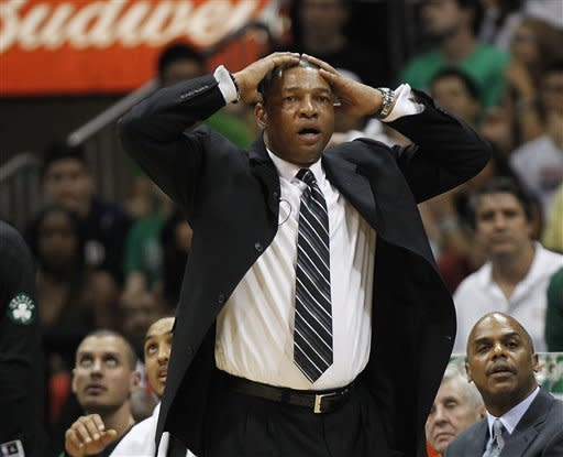 Boston Celtics coach Doc Rivers reacts in the second half of Game 2 of an NBA first-round playoff basketball series against the Atlanta Hawks on Tuesday, May 1, 2012, in Atlanta. Boston won 87-80 and evened the series at one game each. (AP Photo/John Bazemore)