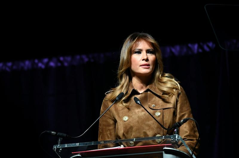 First lady Melania Trump speaking at a youth summit on opioids in Baltimore, where she was booed by sections of the audience: REUTERS
