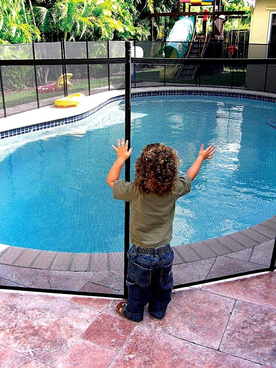 """It'ssure to go <i>swimmingly</i> with safe summer fun, even when you have a water baby who would love jumping in when grown-ups aren't around.<br /><br /><strong>Promising review:</strong>""""This is LITERALLY a lifesaver when our grandchild is here. There's no way our 18-month-old grandchild can get through this sturdy netting, which is such a relief. We roll it to the side when we're not using it, so it's perfect!<strong>If we did not have this fence, our grandchild would go right to the pool every time.</strong>Now she plays and we have no worries that she will go into the pool."""" — <a href=""""https://www.amazon.com/gp/customer-reviews/RPXQ8Z4IF4NYG?&linkCode=ll2&tag=huffpost-bfsyndication-20&linkId=d18e8ba96e8383290d6bfc884329fe57&language=en_US&ref_=as_li_ss_tl"""" target=""""_blank"""" rel=""""noopener noreferrer"""">Amazon Customer</a><br /><br /><strong><a href=""""https://www.amazon.com/dp/B004VQE1DG?&linkCode=ll1&tag=huffpost-bfsyndication-20&linkId=c93cbcae10f811dfce2695aa54e7faa3&language=en_US&ref_=as_li_ss_tl"""" target=""""_blank"""" rel=""""noopener noreferrer"""">Get it from Amazon for $92.29 (available in two colors, and two sizes).</a></strong>"""