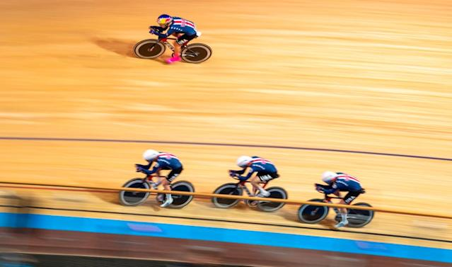US team Chloe Dygert Jennifer Valente Emma White and Lily Williams compete in the Womens Team Pursuit qualifying at the UCI track cycling World Championship in Berlin on February 26 2020 Photo by Odd ANDERSEN AFP Photo by ODD ANDERSENAFP via Getty Images
