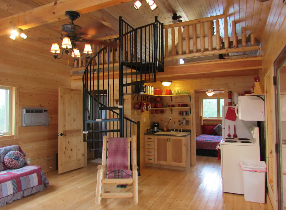 """<h2>The Smoky Mountains, Tennesee</h2><br><strong>Location:</strong> Tallassee, Tennessee<br><strong>Sleeps:</strong> 8<br><strong>Price Per Night:</strong> <a href=""""https://www.airbnb.com/rooms/238743"""" rel=""""nofollow noopener"""" target=""""_blank"""" data-ylk=""""slk:$125"""" class=""""link rapid-noclick-resp"""">$125</a><br><br>""""Hosts Ben and Jeanne invite you to their beautifully designed log cabin in the Smokies. Set on 25 private acres, the cabin offers solitude and an unsurpassed view over Chilhowee Lake (the southern border of the national park), the western peaks of the national park, and the entrance to the #1 bike and sports-car destination in the US — the 'Tail of the Dragon.'""""<br><br><h3>Book <a href=""""https://www.airbnb.com/rooms/238743"""" rel=""""nofollow noopener"""" target=""""_blank"""" data-ylk=""""slk:Entire Cabin Away From It All In The Smokies"""" class=""""link rapid-noclick-resp"""">Entire Cabin Away From It All In The Smokies</a><br></h3><br><span class=""""copyright"""">PHOTO: COURTESY OF AIRBNB.</span>"""