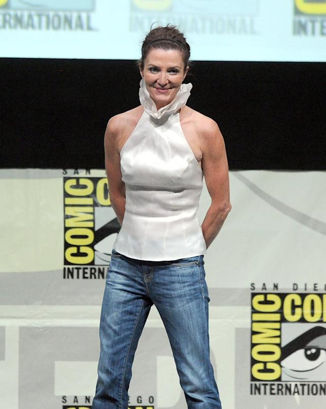 "Michelle Fairley speaks onstage during the ""Game of Thrones"" panel during Comic-Con International 2013 at San Diego Convention Center on July 19, 2013 in San Diego, California."