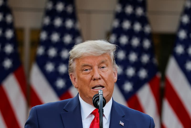 U.S. President Trump delivers update on so-called Operation Warp Speed coronavirus treatment program in televised address from the Rose Garden at the White House in Washington