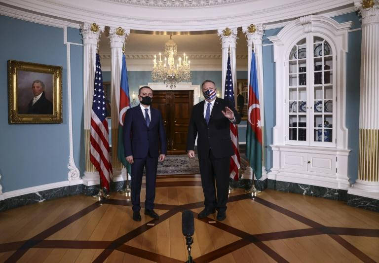 US Secretary of State Mike Pompeo meets with Azerbaijani Foreign Minister Jeyhun Bayramov on October 23, 2020 before a separate meeting in Washington with his Armenian counterpart in a bid to end fighting in Nagorno-Karabakh