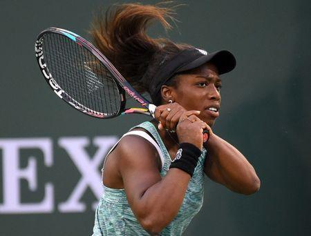 Mar 7, 2018; Indian Wells, CA, Sachia Vickery (USA) in her first round match against Eugenie Bouchard (not pictured) at the BNP Paribas Open at the Indian Wells Tennis Garden. Jayne Kamin-Oncea-USA TODAY Sports