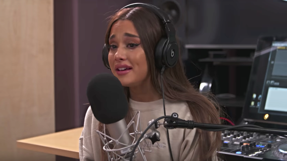 Ariana Grande weeps as she recalls Manchester bomb