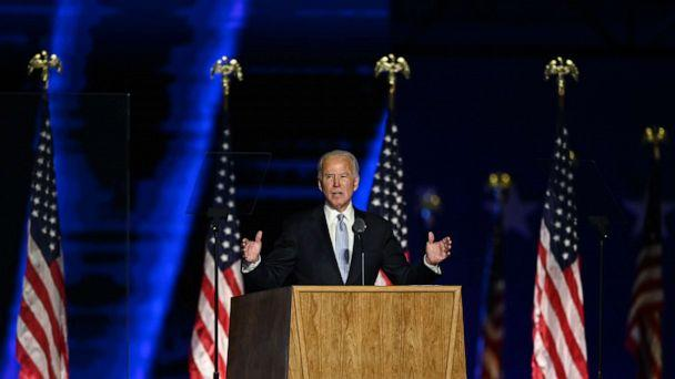 US President-elect Joe Biden delivers remarks in Wilmington, Delaware, on November 7, 2020, after being declared the winner of the presidential election.  (Jim Watson/AFP via Getty Images)