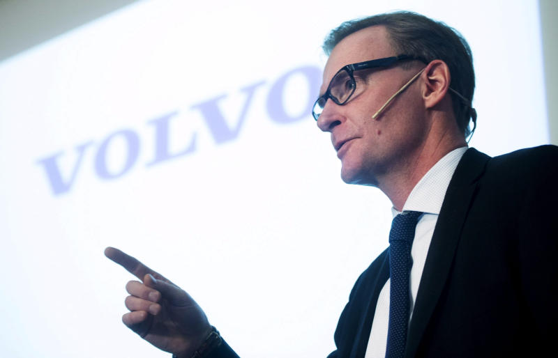Volvo's CEO Olof Persson speaks during a news conference in Stockholm, Thursday Feb. 6, 2014. Truck maker AB Volvo plans to lay off 4,400 employees this year as it revealed a 37 percent slide in fourth quarter profits. Persson said the job losses, which include the previously announced reduction of 2,000, will affect employees worldwide in group truck operations, as well as in technology, sales, marketing, IT, finance and human resource departments. (AP Photo/TT News Agency, Fredrik Sandberg) SWEDEN OUT